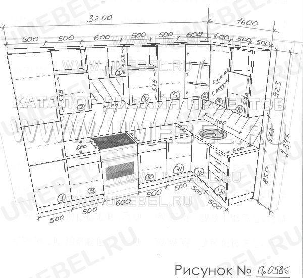 чертеж стенки для гостиной